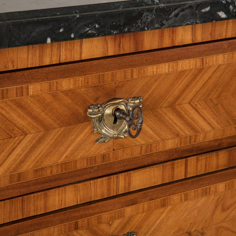 Tall Late 19th Century French Louis XVI Style Rosewood Marquetry Chest, Marble For Sale 2