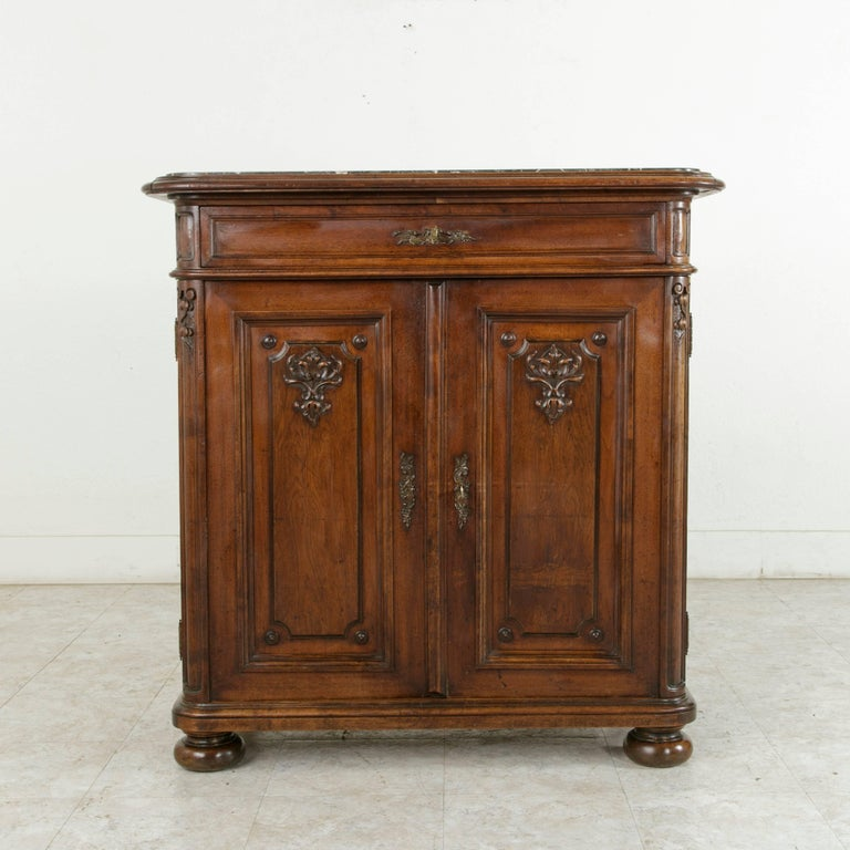 Tall Late 19th Century Hand-Carved Walnut Buffet or Dry ...