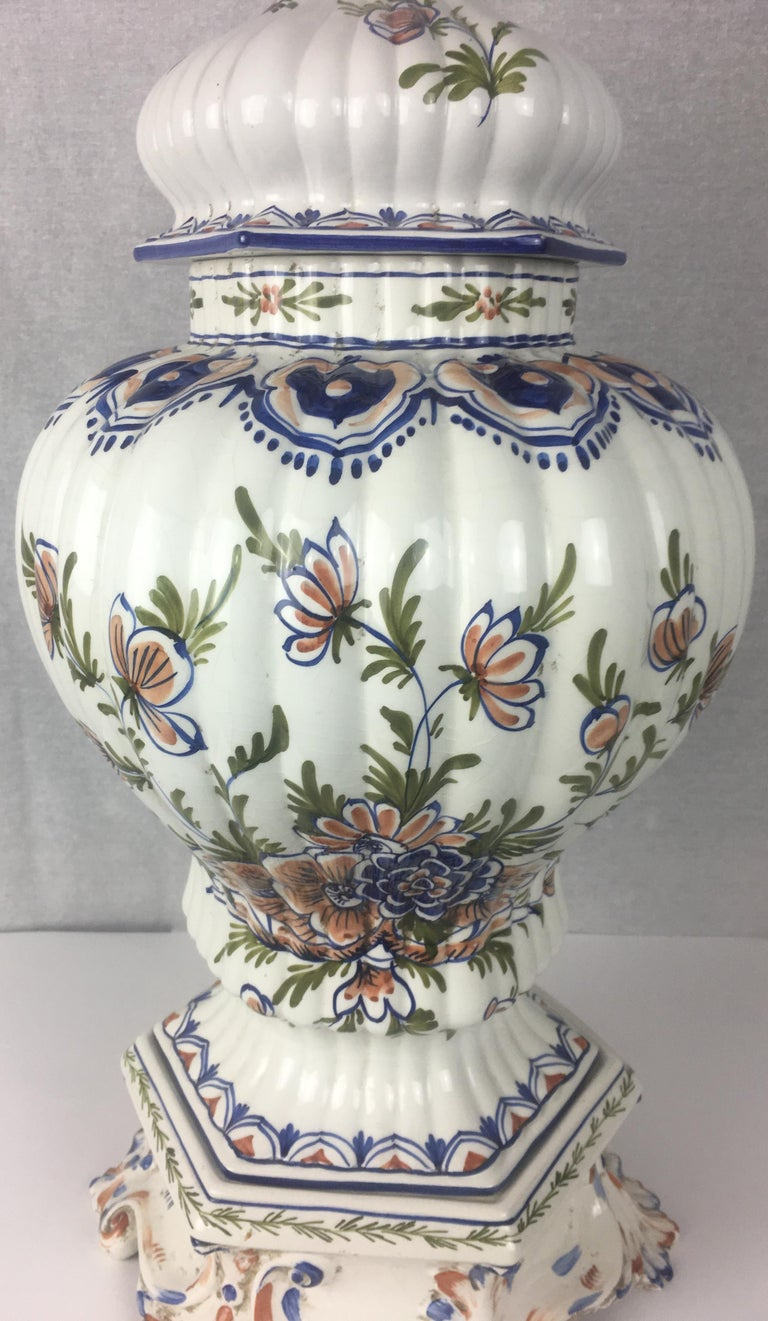 Porcelain Tall Classic Late 19th-Early 20th C.  French Hand-Painted Ceramic Centerpiece For Sale