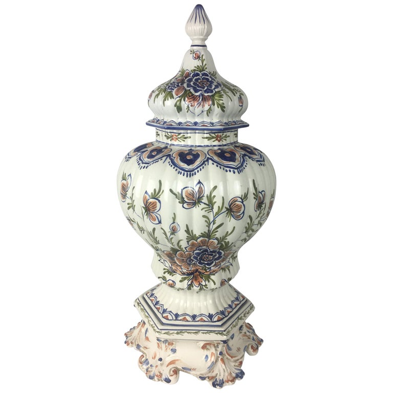 Tall Classic Late 19th-Early 20th C.  French Hand-Painted Ceramic Centerpiece For Sale