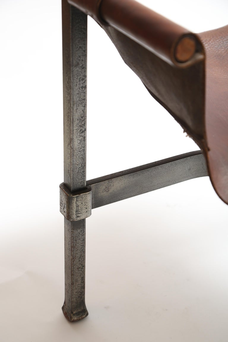 Tall Leather and Iron T-Chair For Sale 6