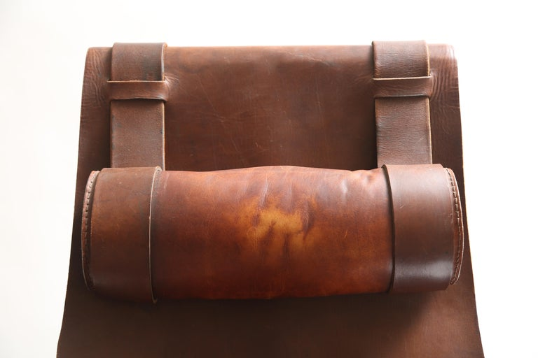 Tall Leather and Iron T-Chair For Sale 7