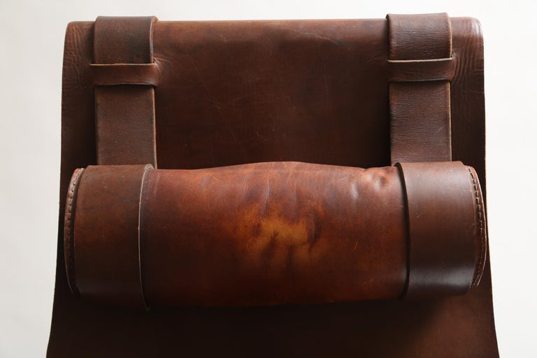 Tall Leather and Iron T-Chair For Sale 9