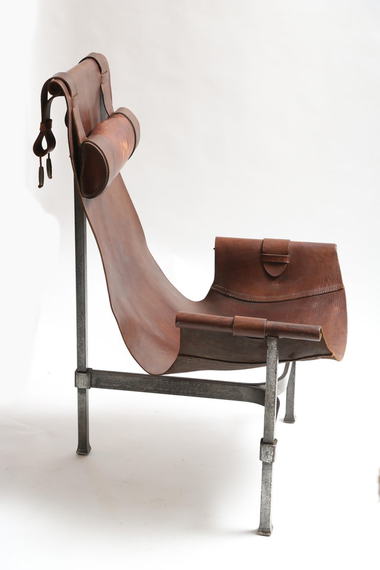 American Tall Leather and Iron T-Chair For Sale