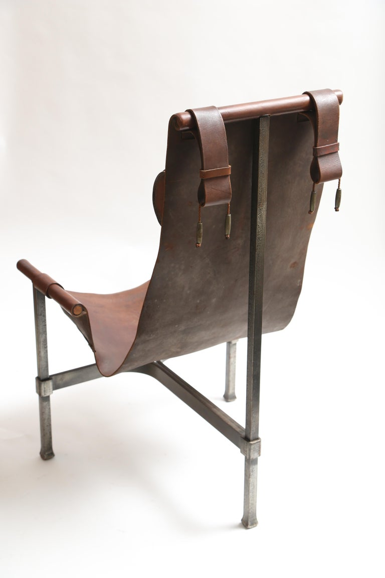 Tall Leather and Iron T-Chair In Good Condition For Sale In West Palm Beach, FL