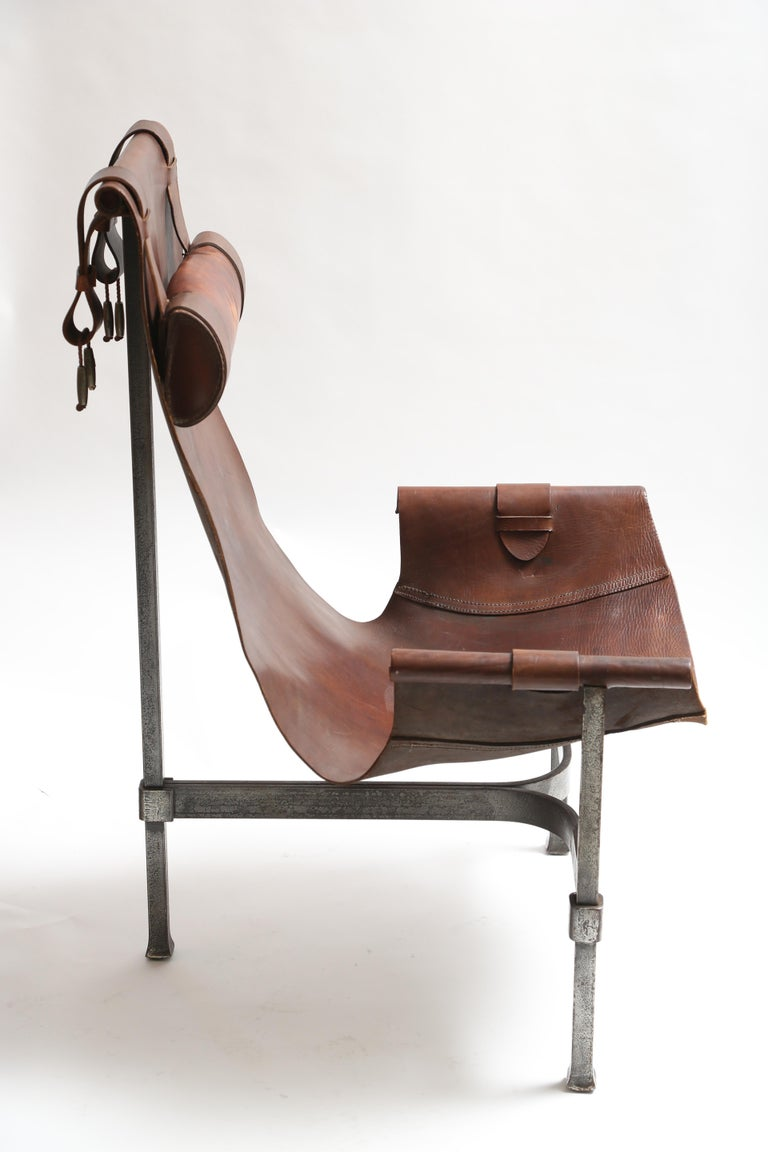 Tall Leather and Iron T-Chair For Sale 1