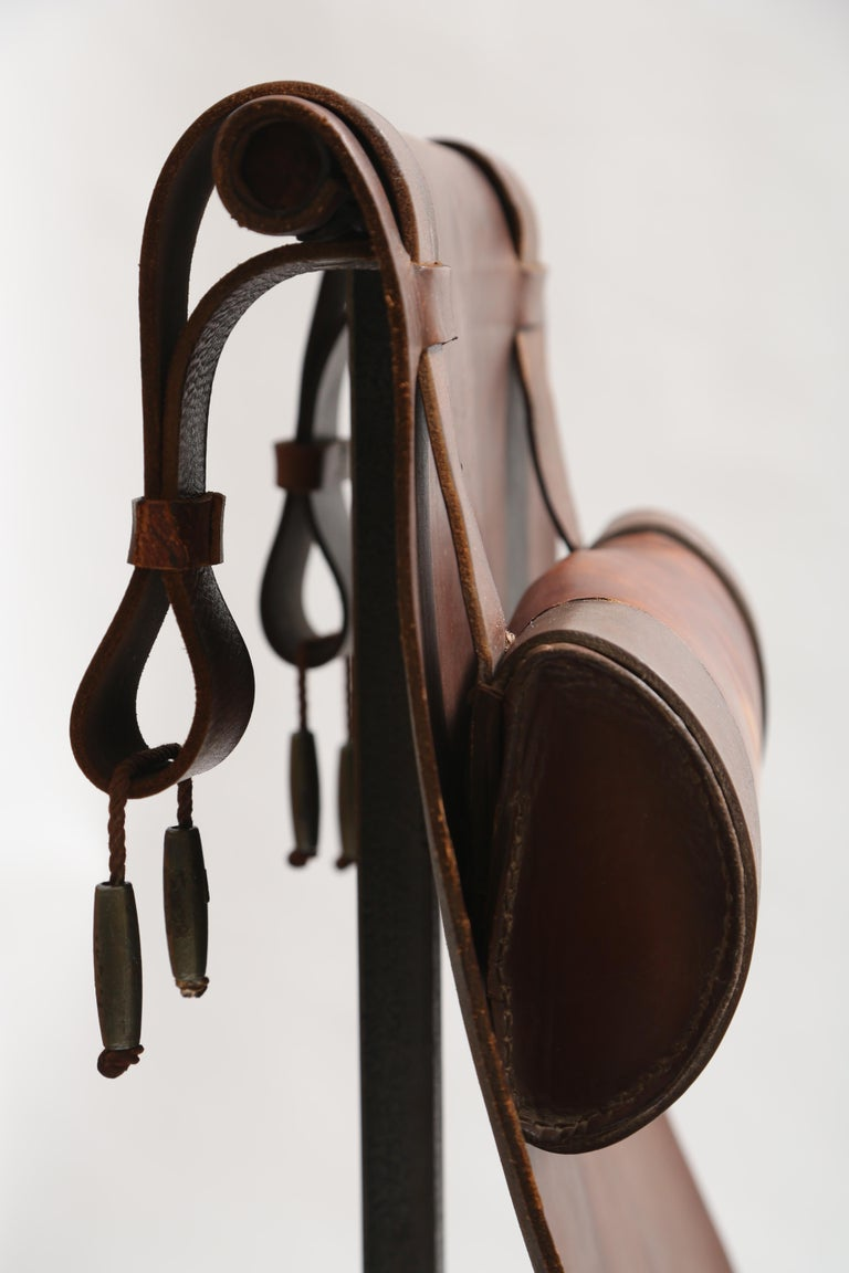 Tall Leather and Iron T-Chair For Sale 2