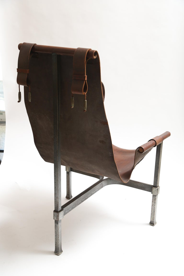 Tall Leather and Iron T-Chair For Sale 4
