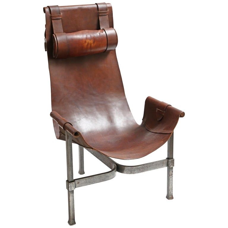 Tall Leather and Iron T-Chair For Sale