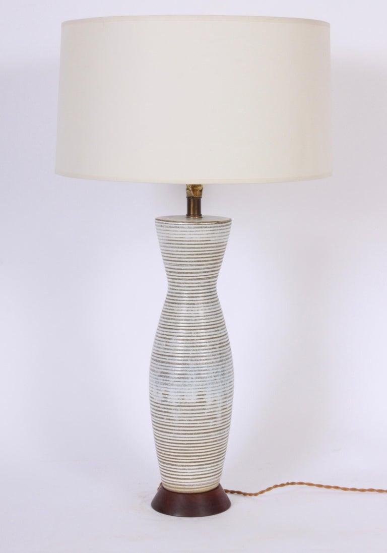 20th Century Tall Lee Rosen for Design Technics Banded Drip Glaze Ceramic Table Lamp, 1950s For Sale