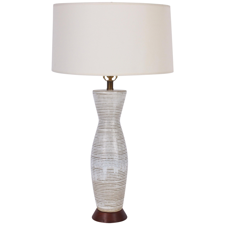 Tall Lee Rosen for Design Technics Banded Drip Glaze Ceramic Table Lamp, 1950s