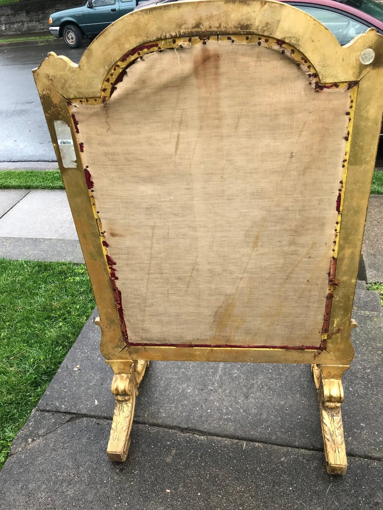 Tall Louis Xvi Style Tapestry and Giltwood Firescreen For Sale 6