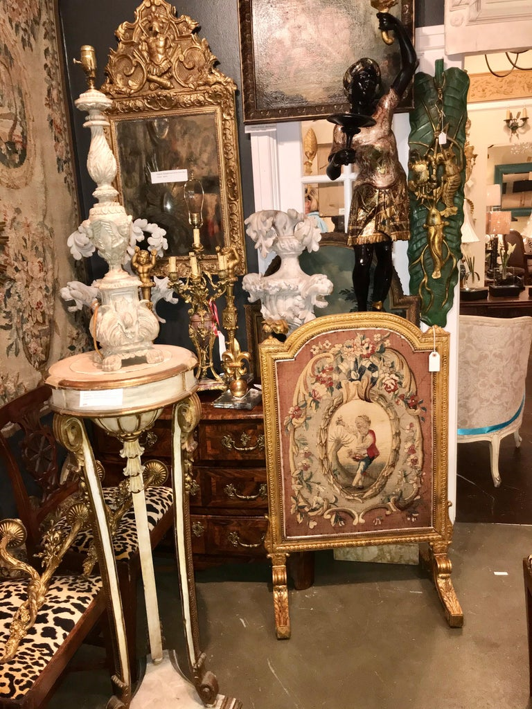 Tall Louis Xvi Style Tapestry and Giltwood Firescreen For Sale 10