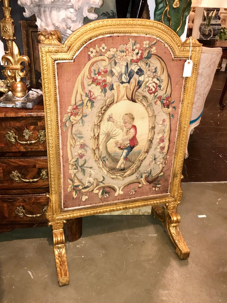 Louis XVI Tall Louis Xvi Style Tapestry and Giltwood Firescreen For Sale