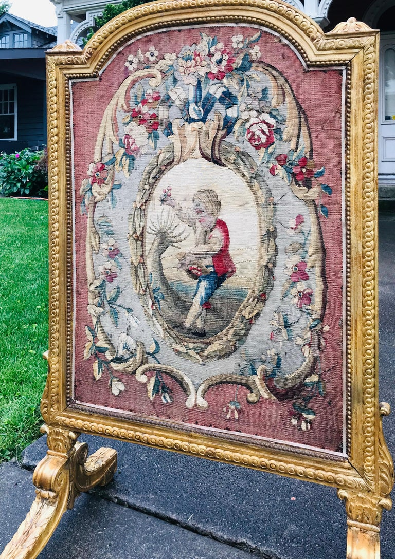 French Tall Louis Xvi Style Tapestry and Giltwood Firescreen For Sale