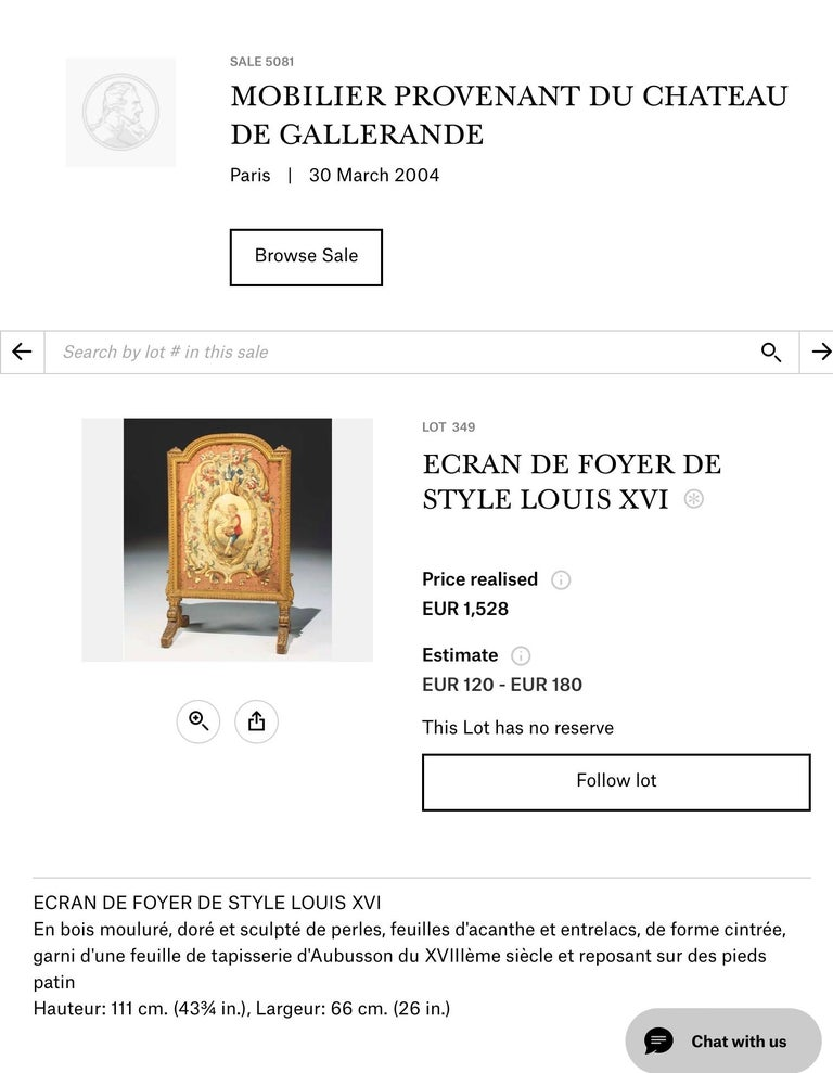 Tall Louis Xvi Style Tapestry and Giltwood Firescreen In Fair Condition For Sale In Nashville, TN