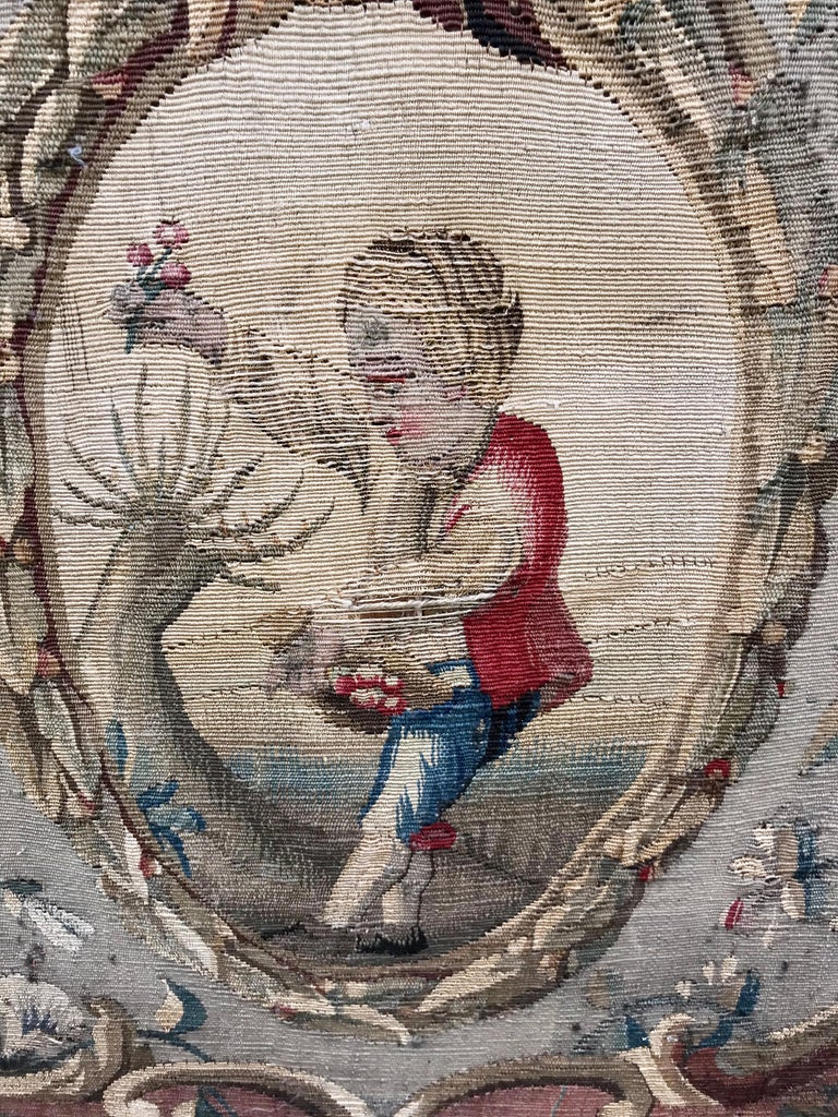 Tall Louis Xvi Style Tapestry and Giltwood Firescreen For Sale 1