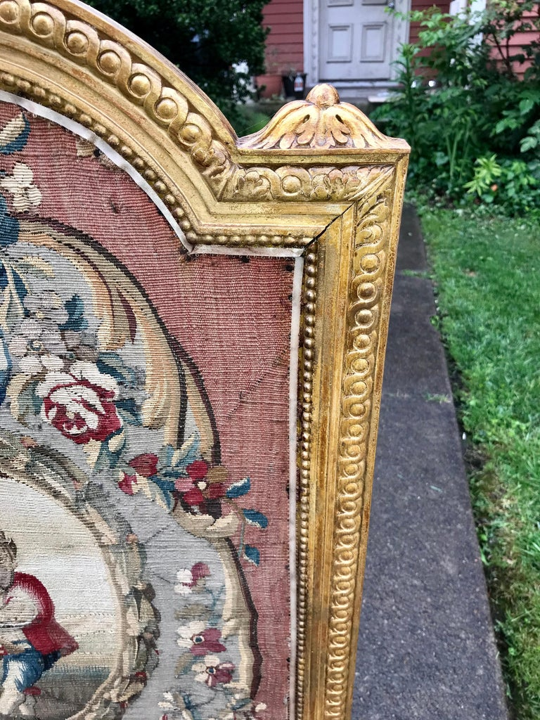 Tall Louis Xvi Style Tapestry and Giltwood Firescreen For Sale 3