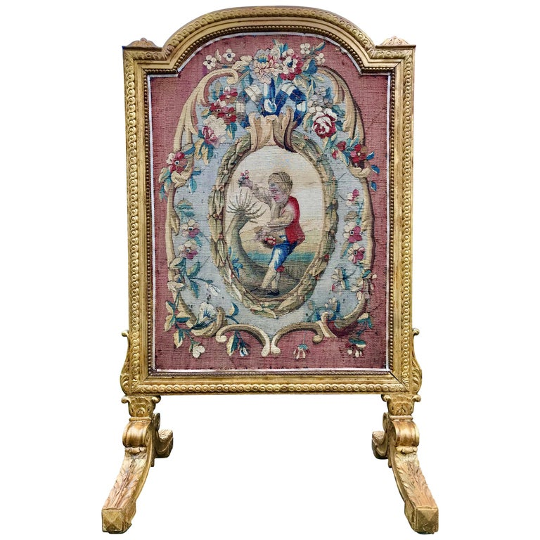 Tall Louis Xvi Style Tapestry and Giltwood Firescreen For Sale