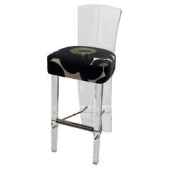 Tall Lucite and Chrome Space Age Barstool in Maharam Fabric