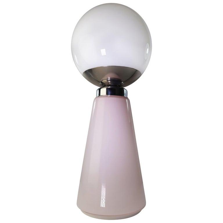 Tall Mazzega Murano Rose Cone, White Globe Glass Italian Modern Lamp, 1970s For Sale