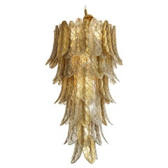 """Tall Metallic Gold and Smoked Taupe Murano Glass """"Leaves"""" Chandelier, Italy 2021"""