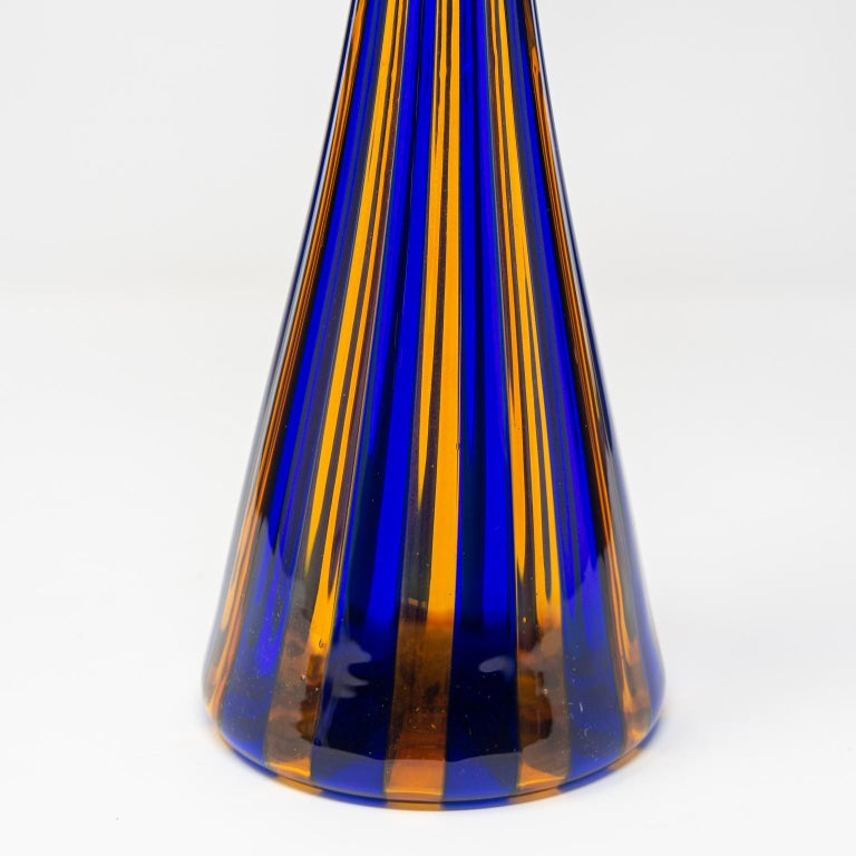 Tall Midcentury Blue and Orange Striped Murano Glass Vase For Sale 2