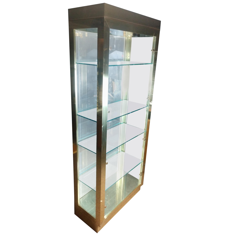 Tall Mid Century Modern Brass and Glass Mastercraft Vitrine Cabinet