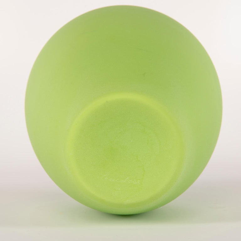 Tall Midcentury Cenedese Murano Glass Green Vase For Sale 1