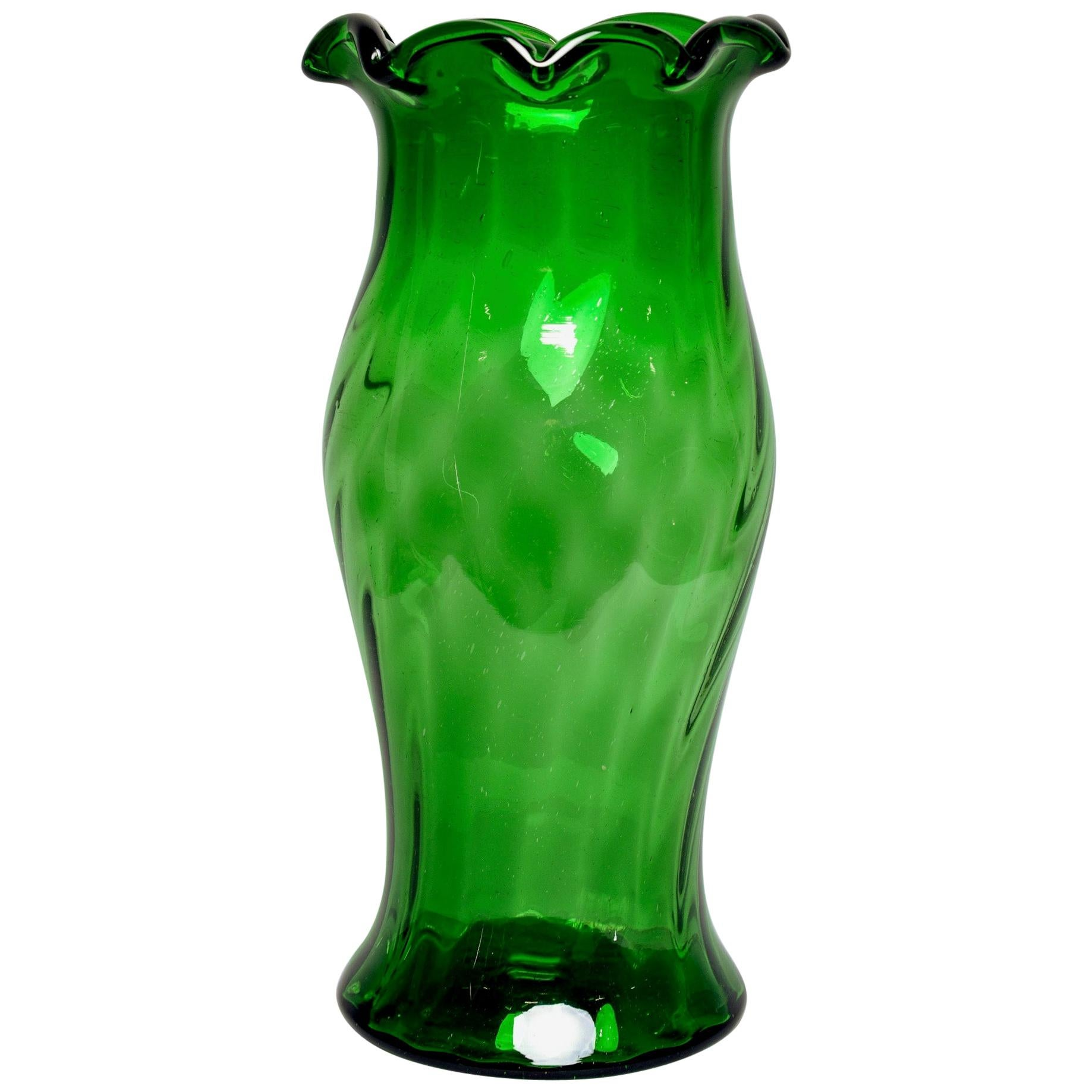 Tall Midcentury European Green Art Glass Vase