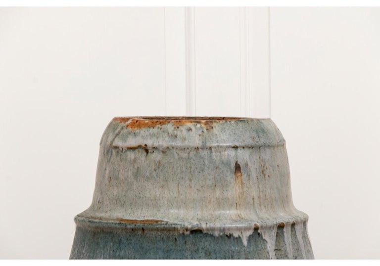 """Believed to be by the iconic and justly celebrated American Ceramicist Robert Turner (1913-2005), this massive vessel certainly embodies the artist's esthetic of timeless, rhythmic and elemental form. Marked, """"Turner 1967"""" on the base. A monumental"""