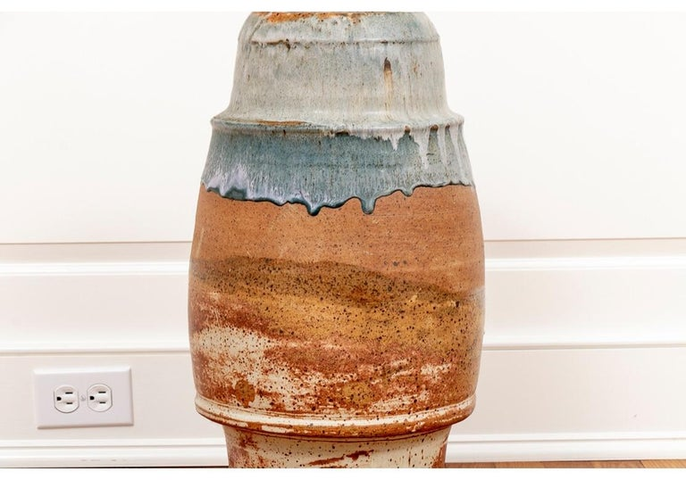 American Tall Mid Century Glazed Art Pottery Vessel Attributed To Robert Turner For Sale