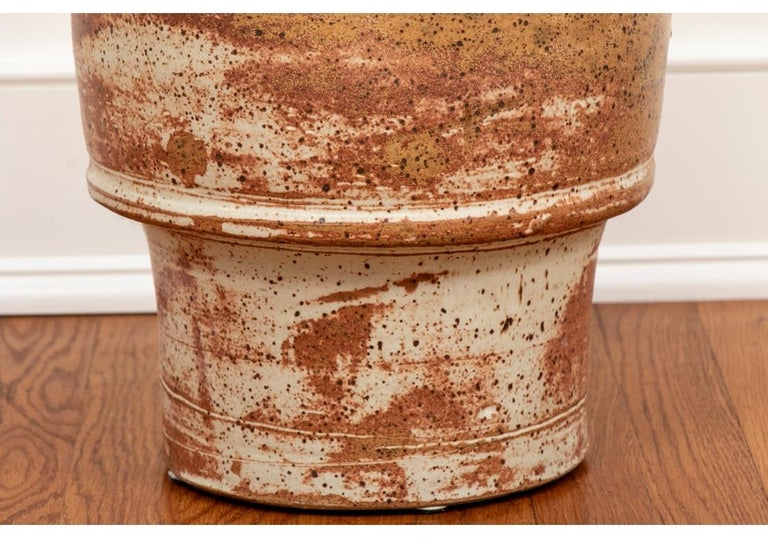 Clay Tall Mid Century Glazed Art Pottery Vessel Attributed To Robert Turner For Sale