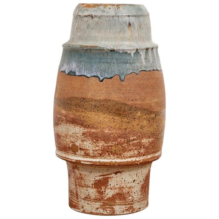 Tall Mid Century Glazed Art Pottery Vessel Attributed To Robert Turner For Sale