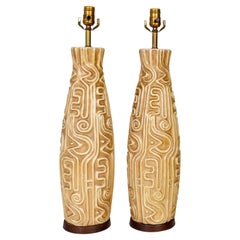 Tall Midcentury High Relief Carved Tan Pottery Lamps 'Pair'