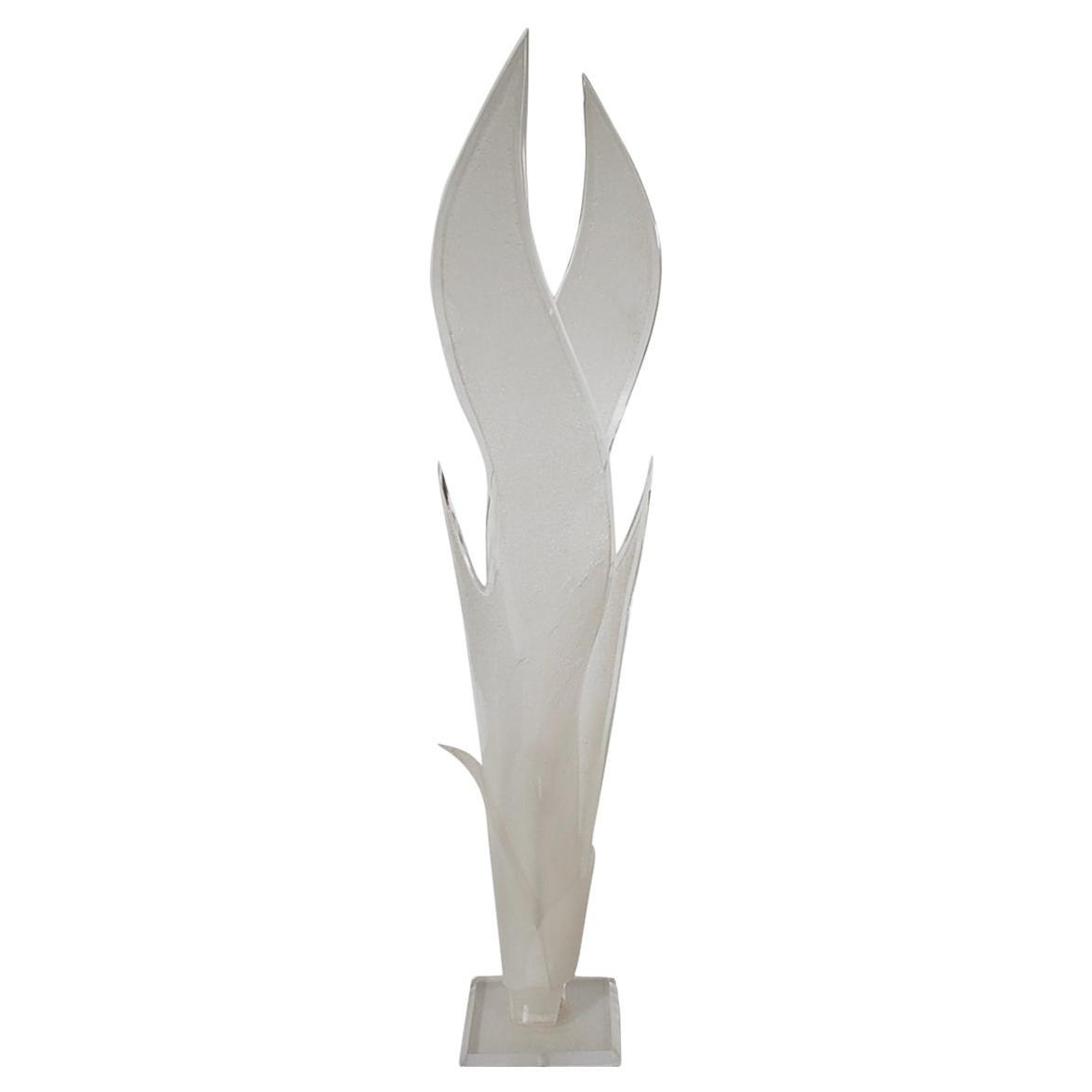 Tall Midcentury Italian Postmodern Acrylic Lucite Sculptural Floor Lamp
