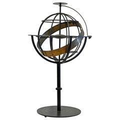 Tall Mid Century Machine Age Style Astrology or Armillary Iron and Brass Sphere