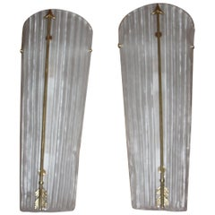 Tall Mid-Century Modern Pair of Sconces Brass and  White Glass , Petitot Style