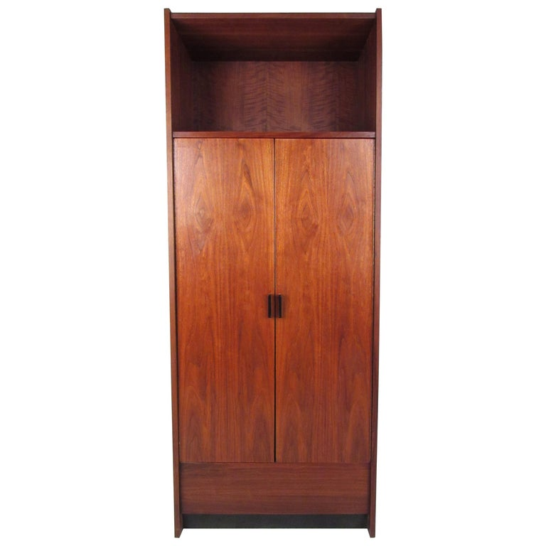 Tall Mid-Century Modern Walnut Armoire For Sale at 1stdibs