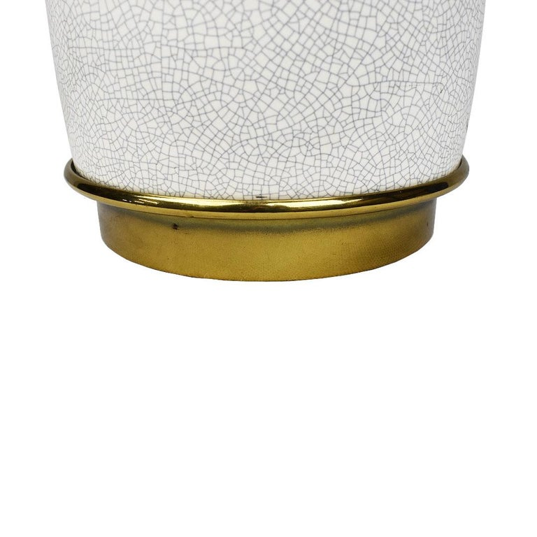20th Century Tall Mid-Century Modern White Crackle Glaze Ceramic and Brass Lamp by Stiffel For Sale
