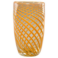 Tall Mid Century Orange Spiral Stripe Murano Glass Vase
