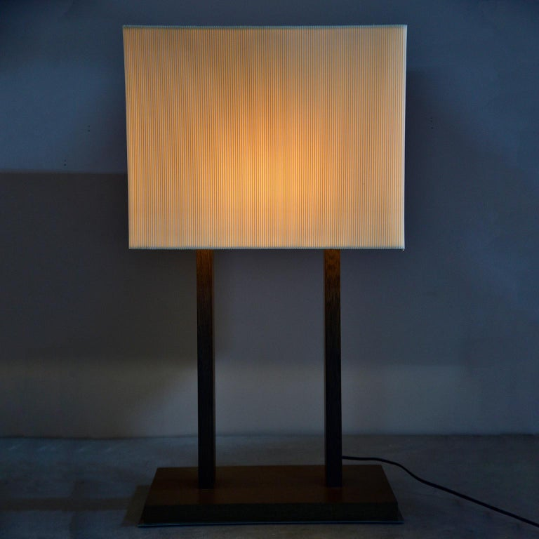 Tall Midcentury Walnut Base Lamp with Tightly Pleated Shade For Sale 3