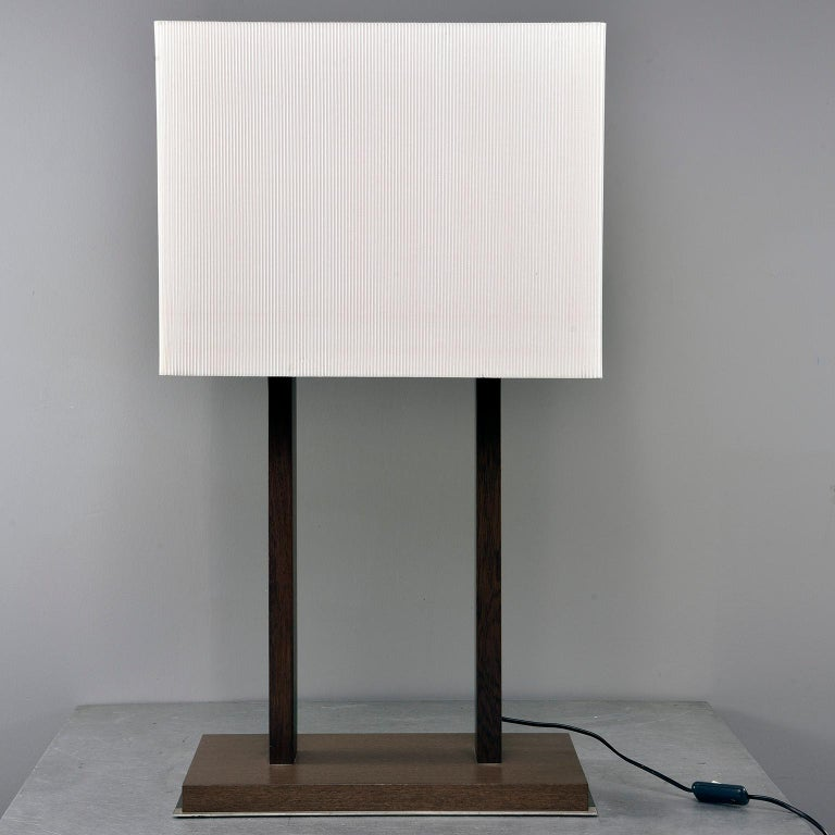 Mid-Century Modern Tall Midcentury Walnut Base Lamp with Tightly Pleated Shade For Sale