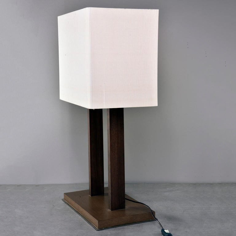 European Tall Midcentury Walnut Base Lamp with Tightly Pleated Shade For Sale