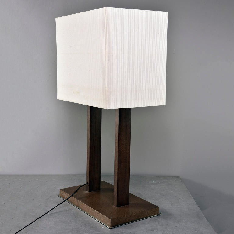 Tall Midcentury Walnut Base Lamp with Tightly Pleated Shade For Sale 1