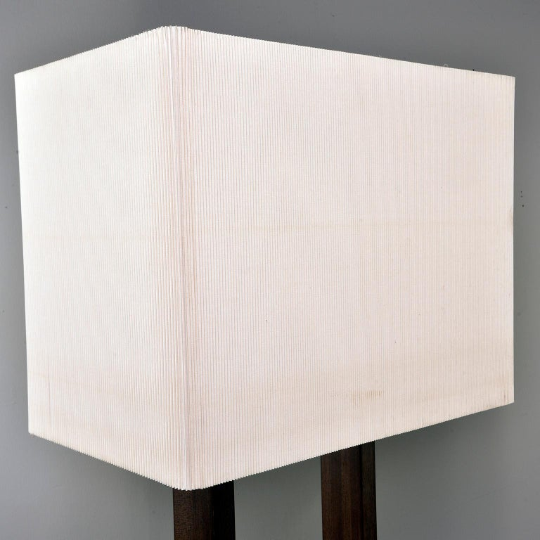 Tall Midcentury Walnut Base Lamp with Tightly Pleated Shade For Sale 2