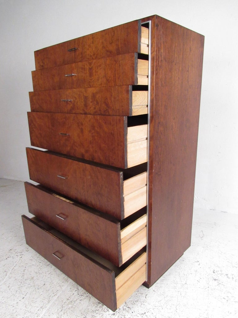 American Tall Midcentury Highboy Dresser by John Stuart Inc For Sale