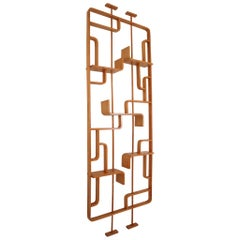 Tall Midcentury Room Divider in Blond Bentwood, circa 1960s