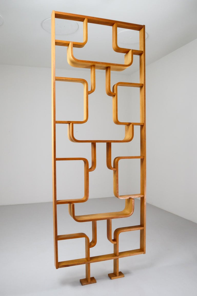 20th Century Tall Midcentury Room Divider in Blond Bentwood, Czech Republic, 1960s For Sale