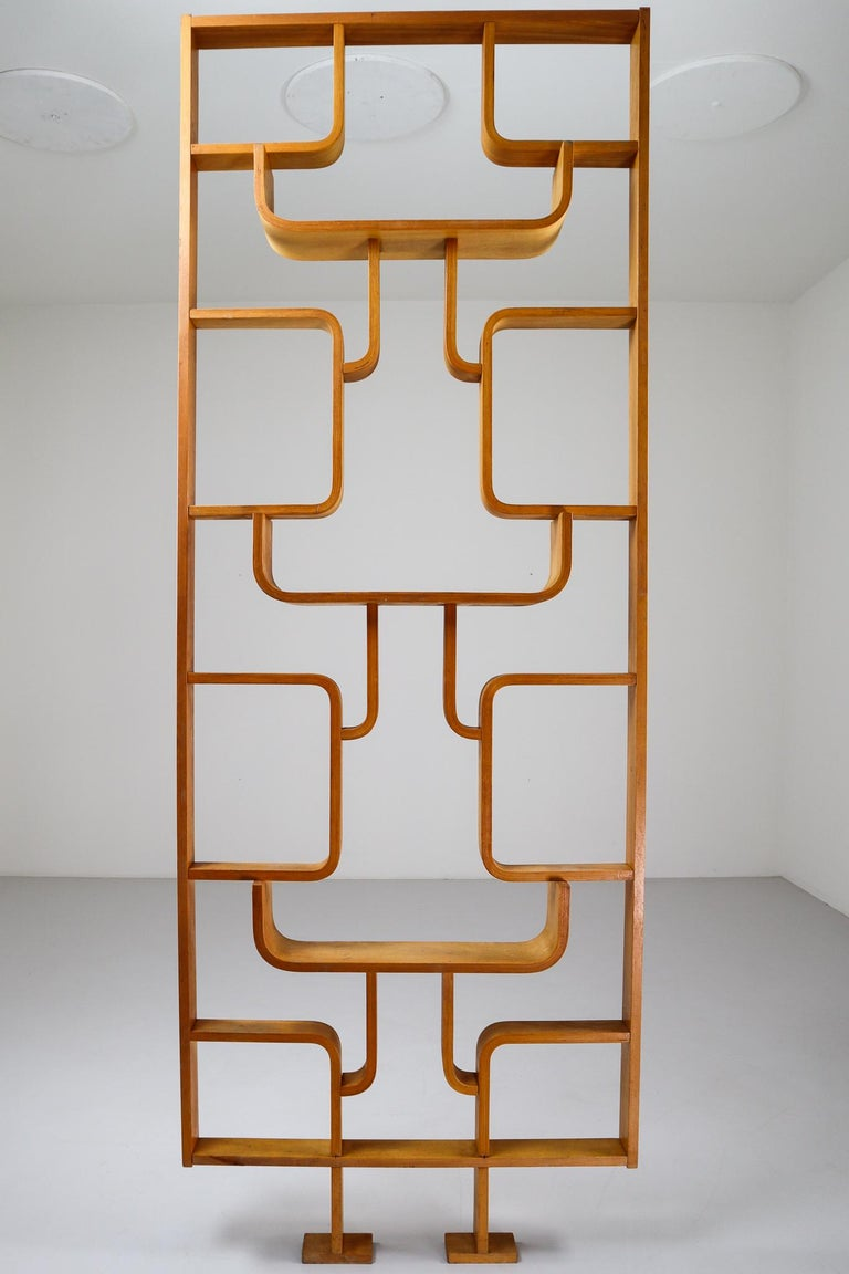 Plywood Tall Midcentury Room Divider in Blond Bentwood, Czech Republic, 1960s For Sale